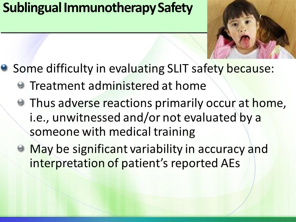 Sublingual Immunotherapy Safety