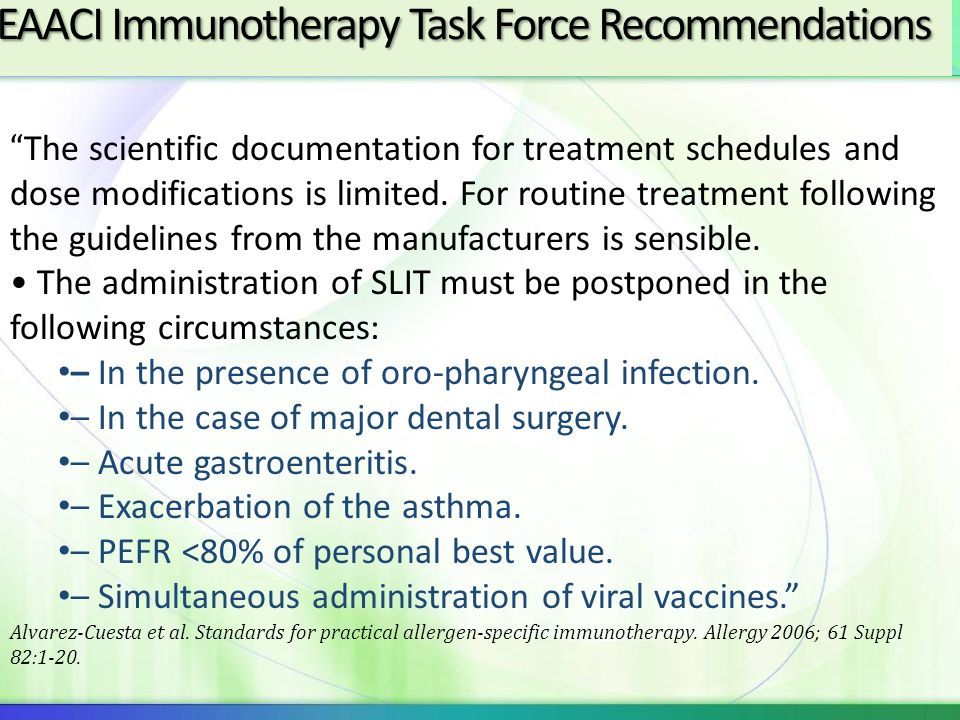 EAACI Immunotherapy Task Force Recommendations