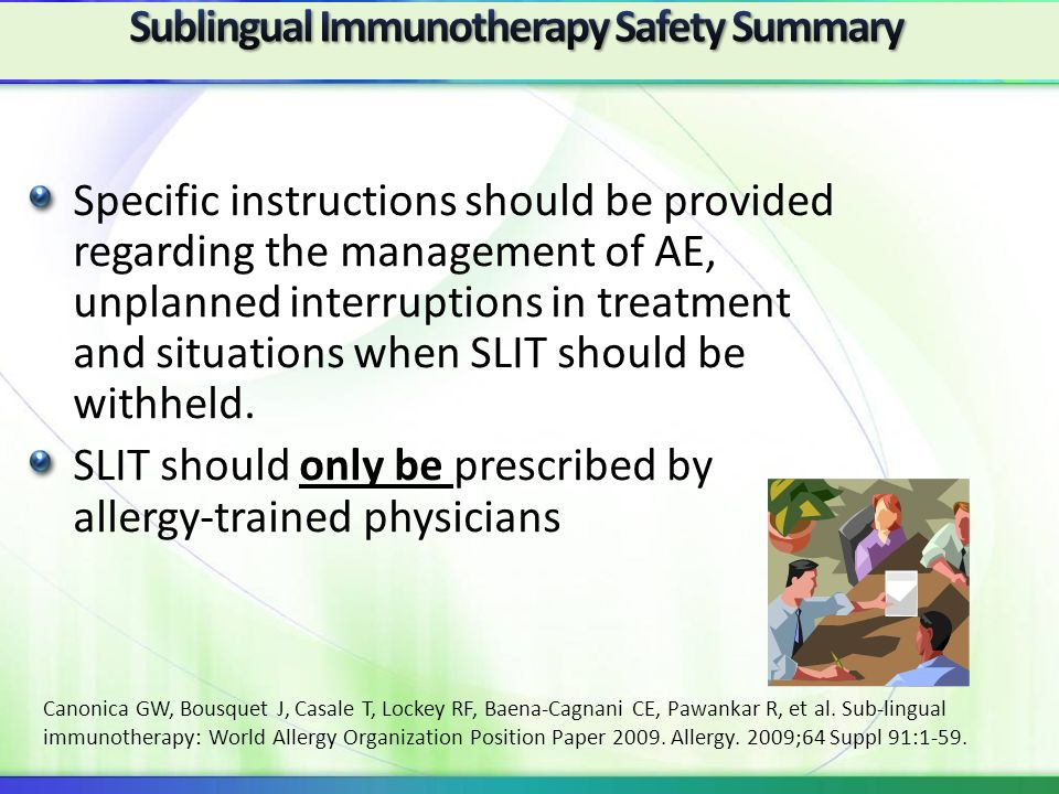 Sublingual Immunotherapy Safety Summary
