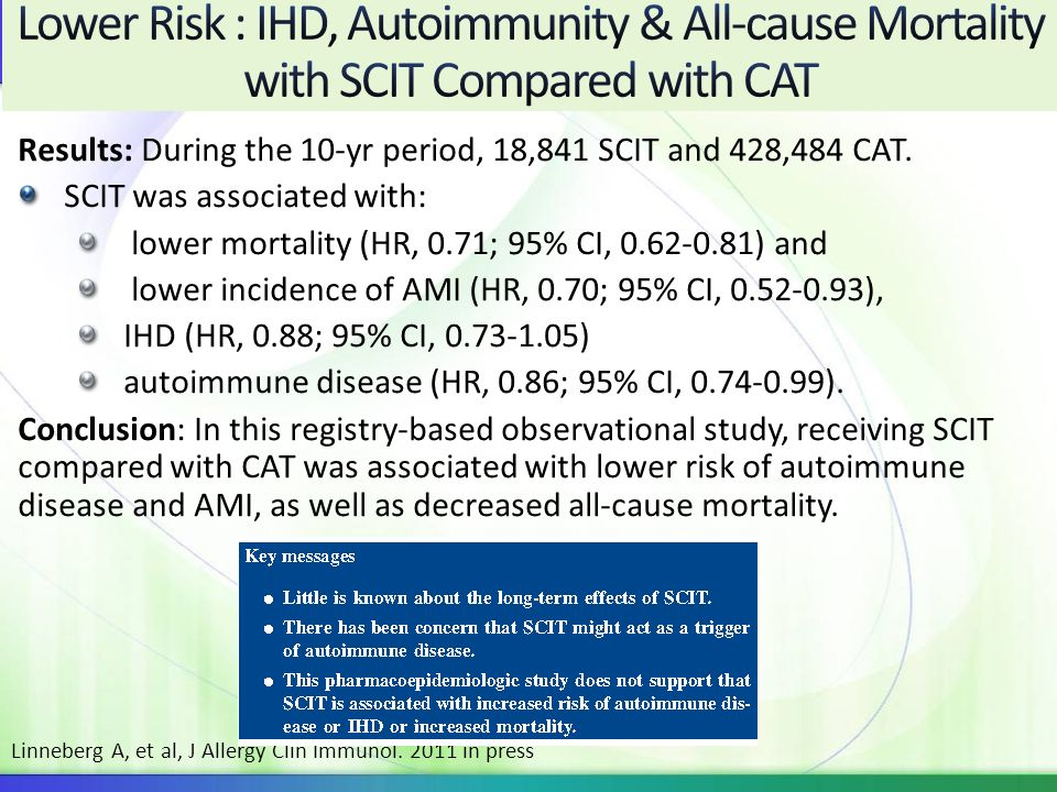 Lower Risk : IHD, Autoimmunity & All-cause Mortality with SCIT Compared with CAT