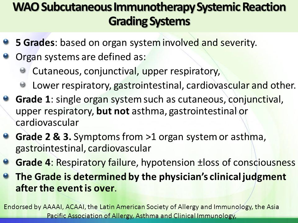 WAO Subcutaneous Immunotherapy Systemic Reaction Grading Systems