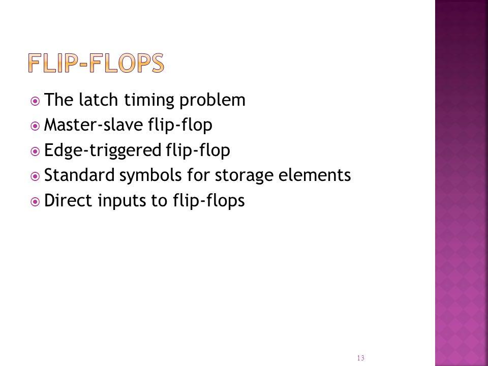 Flip-Flops The latch timing problem Master-slave flip-flop