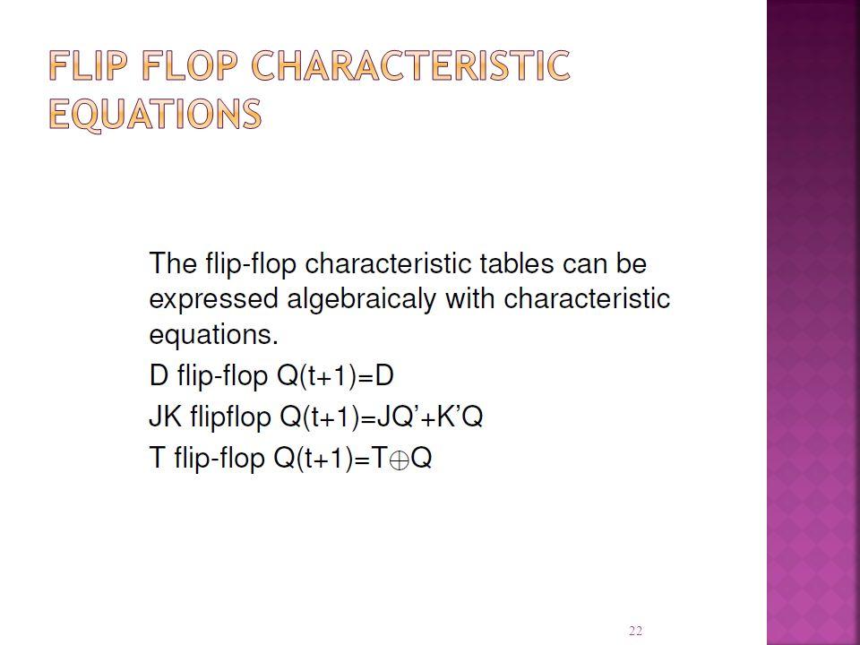 Flip Flop Characteristic Equations
