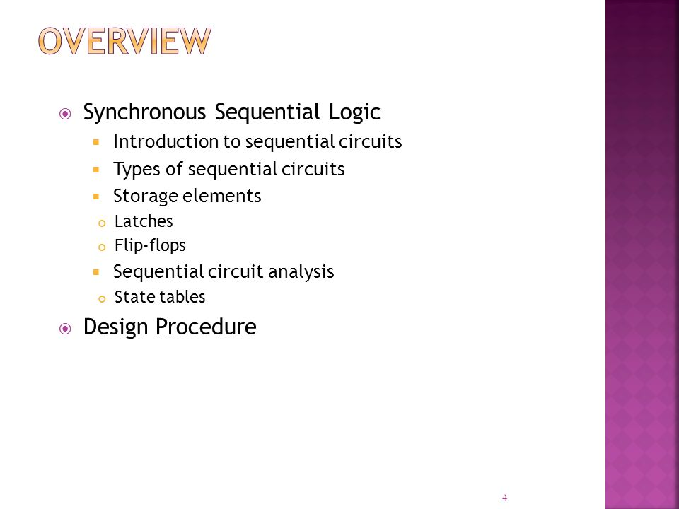 Overview Synchronous Sequential Logic Design Procedure