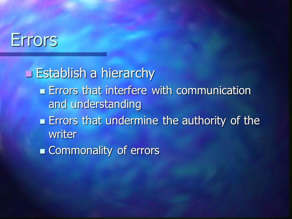 Errors Establish a hierarchy