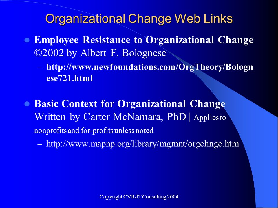 Organizational Change Web Links
