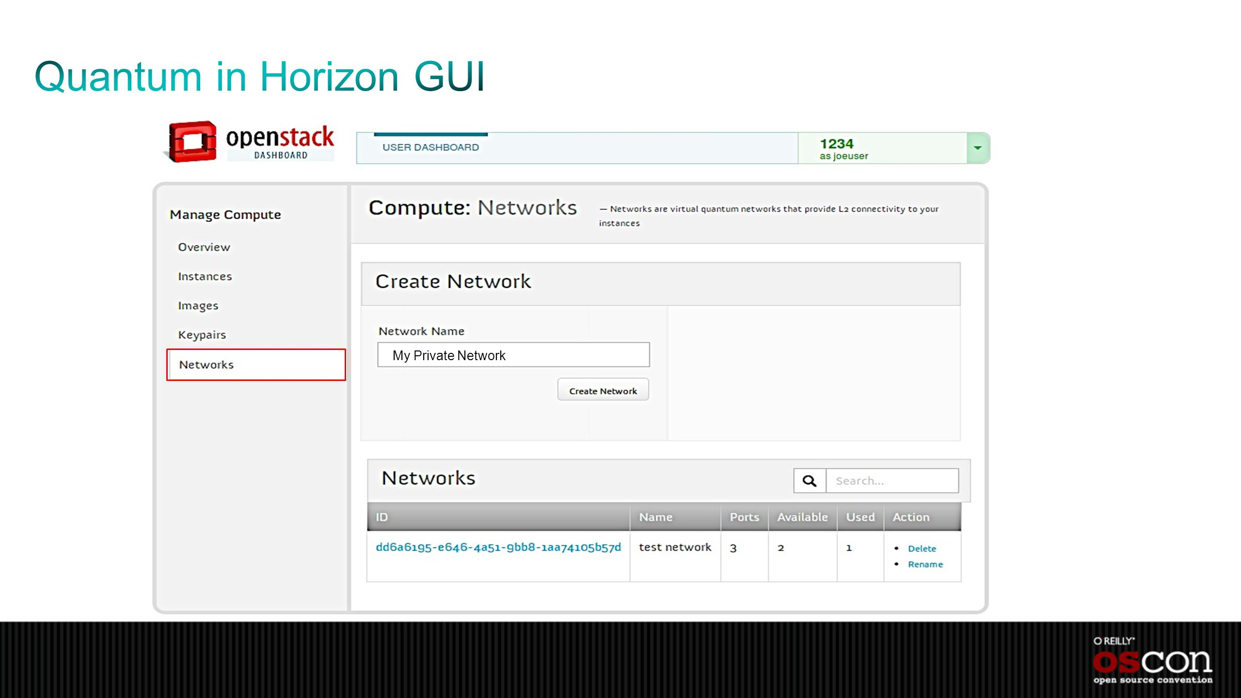 Quantum in Horizon GUI My Private Network