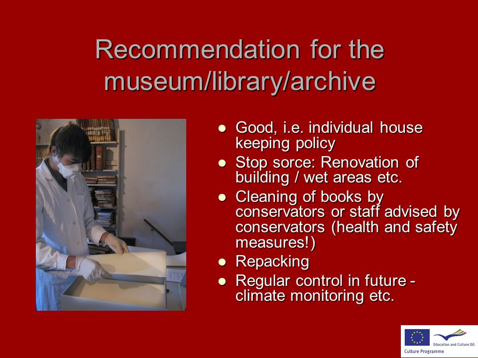 Recommendation for the museum/library/archive