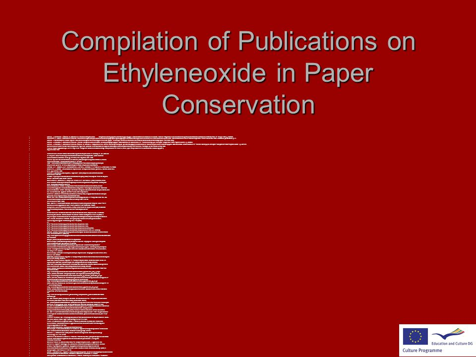 Compilation of Publications on Ethyleneoxide in Paper Conservation