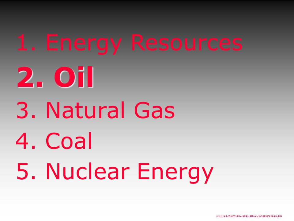 2. Oil 1. Energy Resources 3. Natural Gas 4. Coal 5. Nuclear Energy