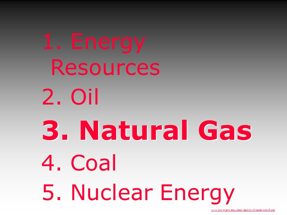 3. Natural Gas 1. Energy Resources 2. Oil 4. Coal 5. Nuclear Energy