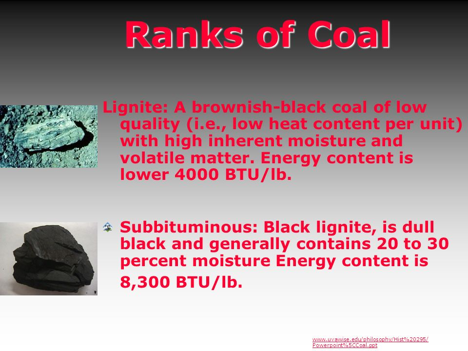 Ranks of Coal