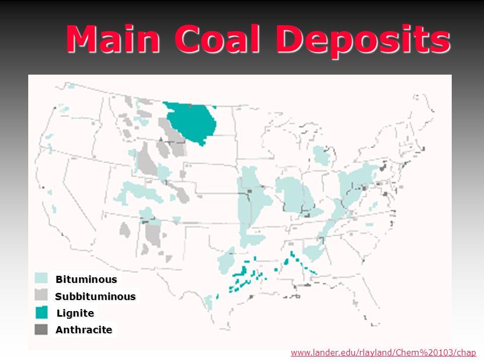 Main Coal Deposits Bituminous Subbituminous Lignite Anthracite