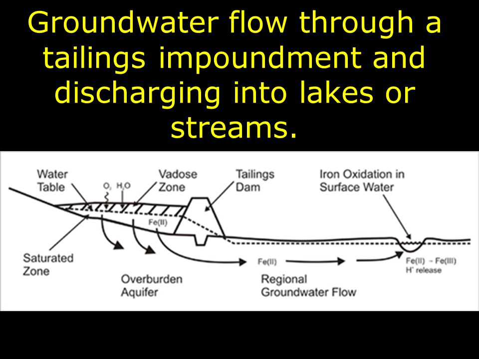 Groundwater flow through a tailings impoundment and discharging into lakes or streams.