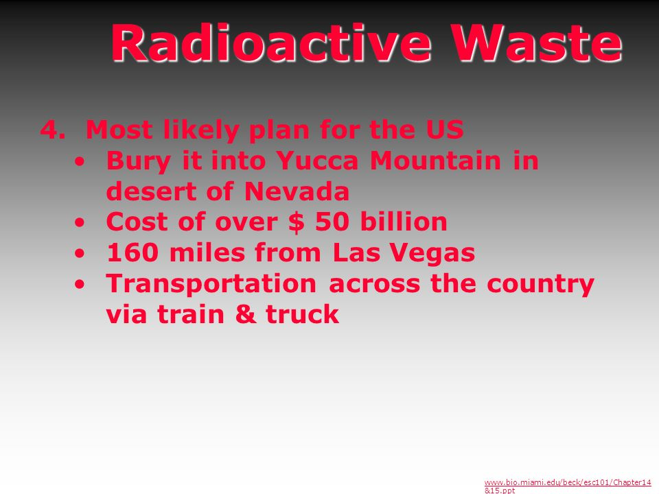 Radioactive Waste 4. Most likely plan for the US