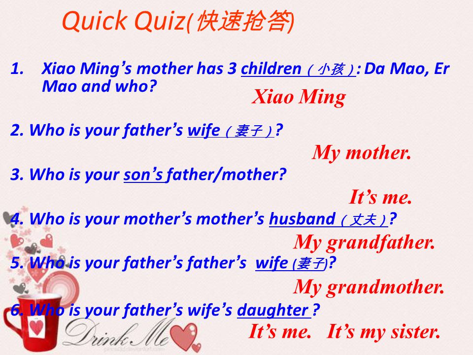 Quick Quiz(快速抢答) Xiao Ming My mother. It's me. My grandfather.