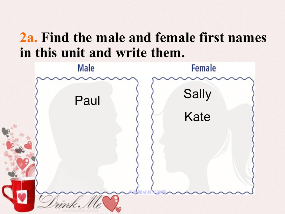 2a. Find the male and female first names in this unit and write them.