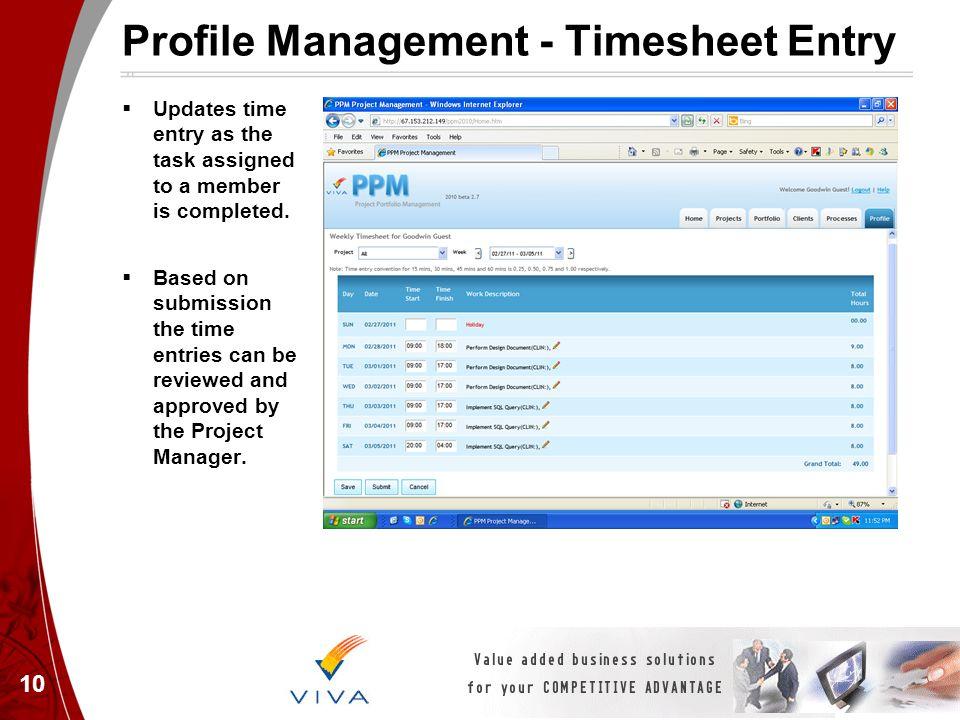 Profile Management - Timesheet Entry