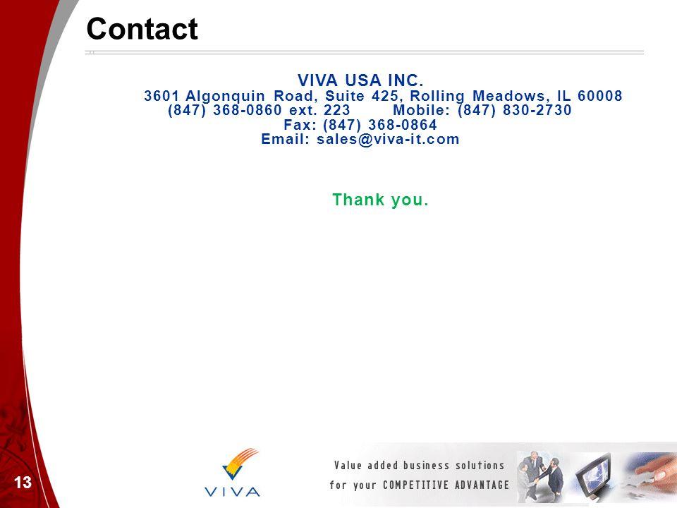 Contact VIVA USA INC. 3601 Algonquin Road, Suite 425, Rolling Meadows, IL 60008 (847) 368-0860 ext. 223 Mobile: (847) 830-2730