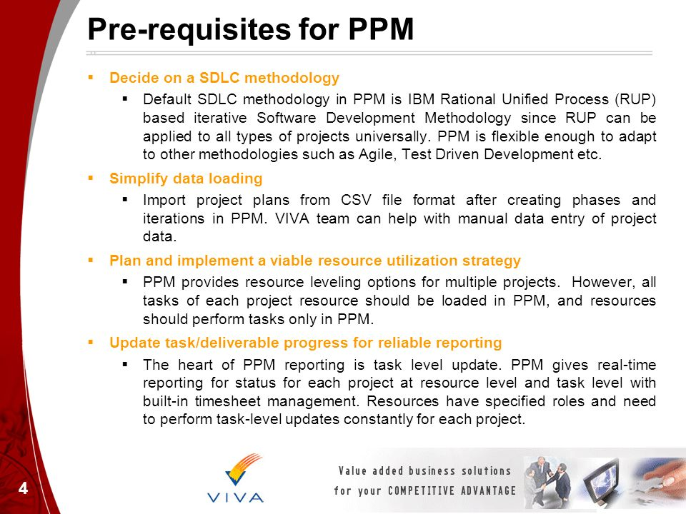 Pre-requisites for PPM