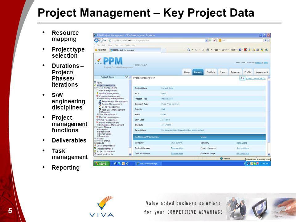 Project Management – Key Project Data