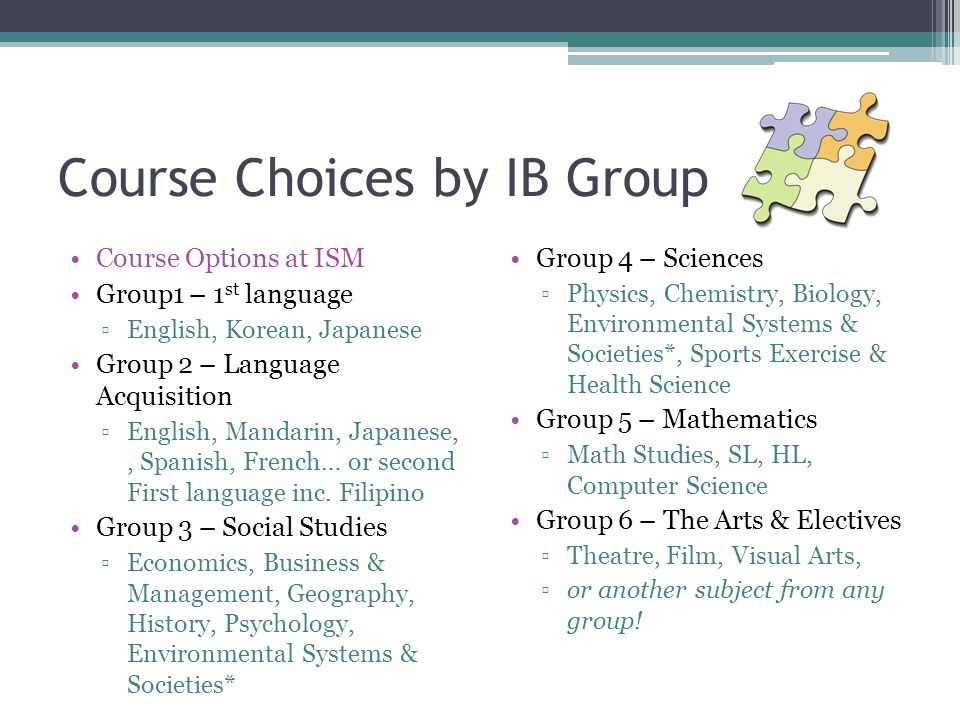 Course Choices by IB Group