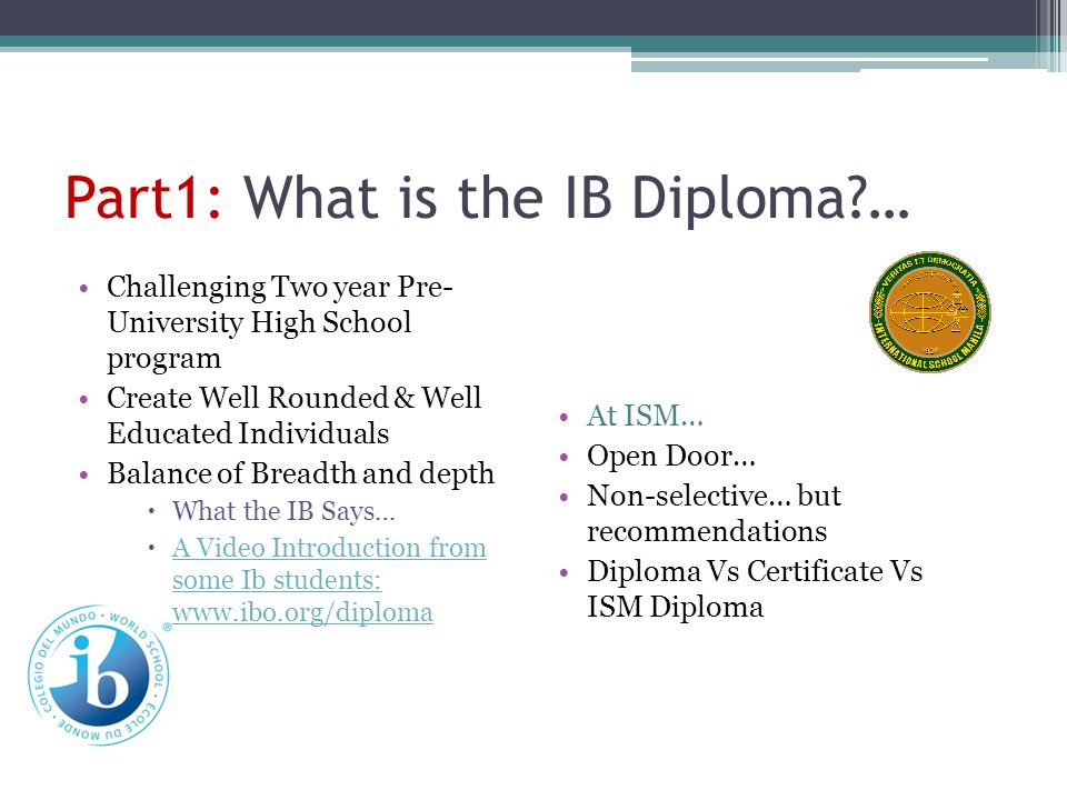 Part1: What is the IB Diploma …
