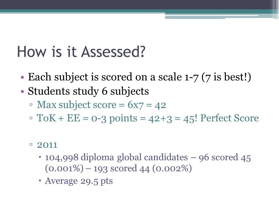 How is it Assessed Each subject is scored on a scale 1-7 (7 is best!)