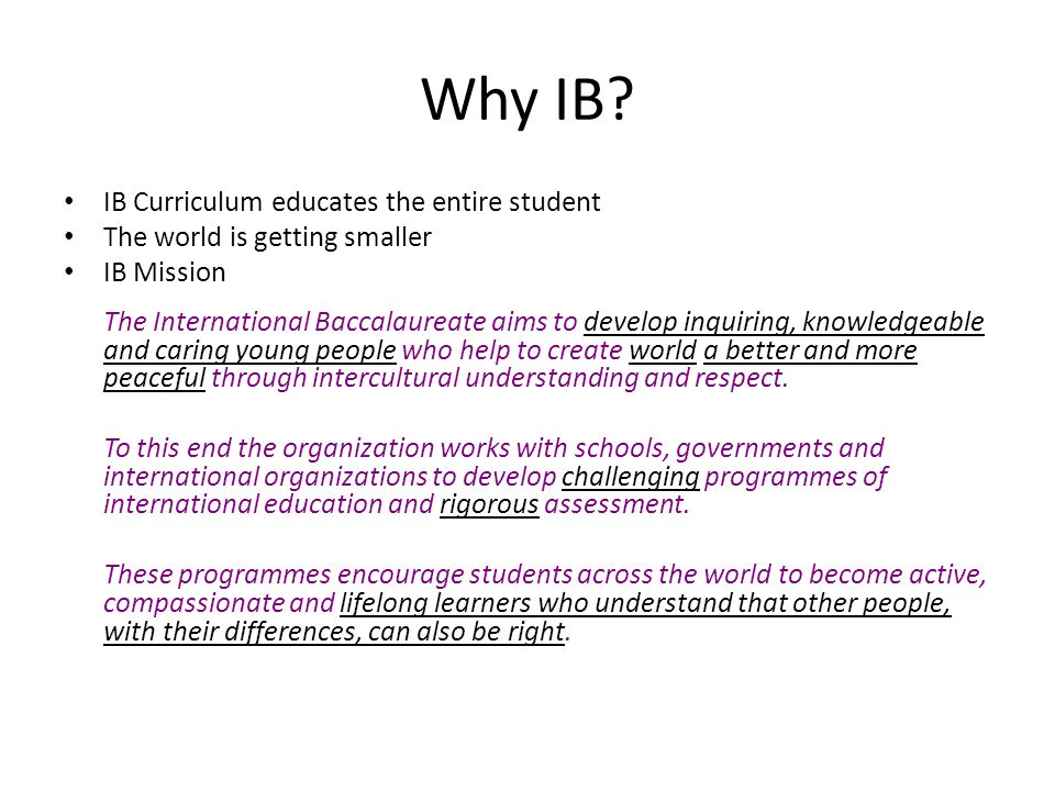 Why IB IB Curriculum educates the entire student