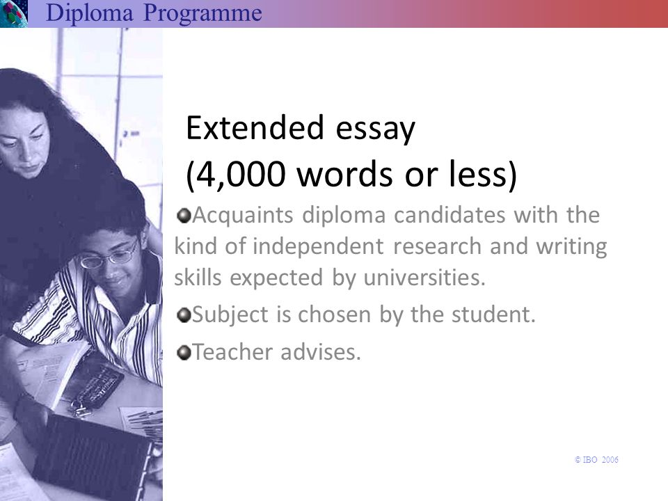 Extended essay (4,000 words or less)