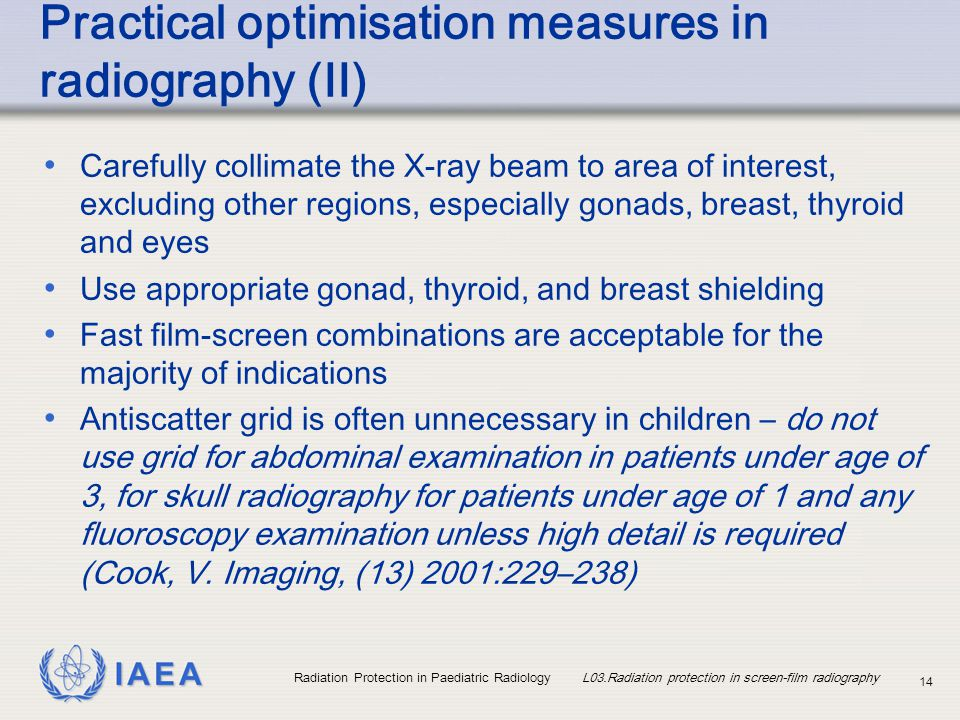 Practical optimisation measures in radiography (II)