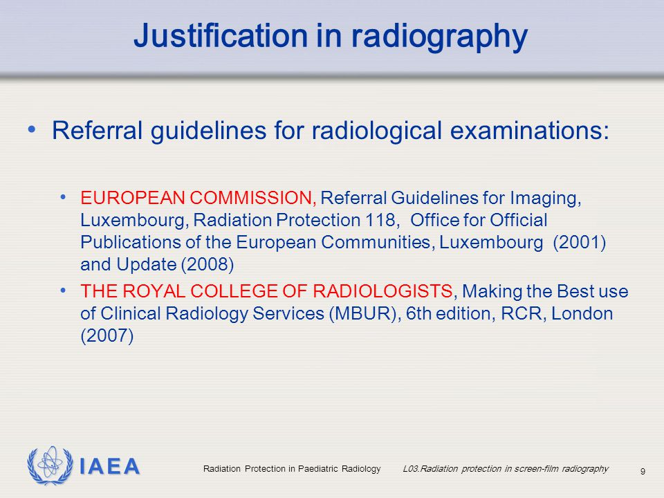 Justification in radiography