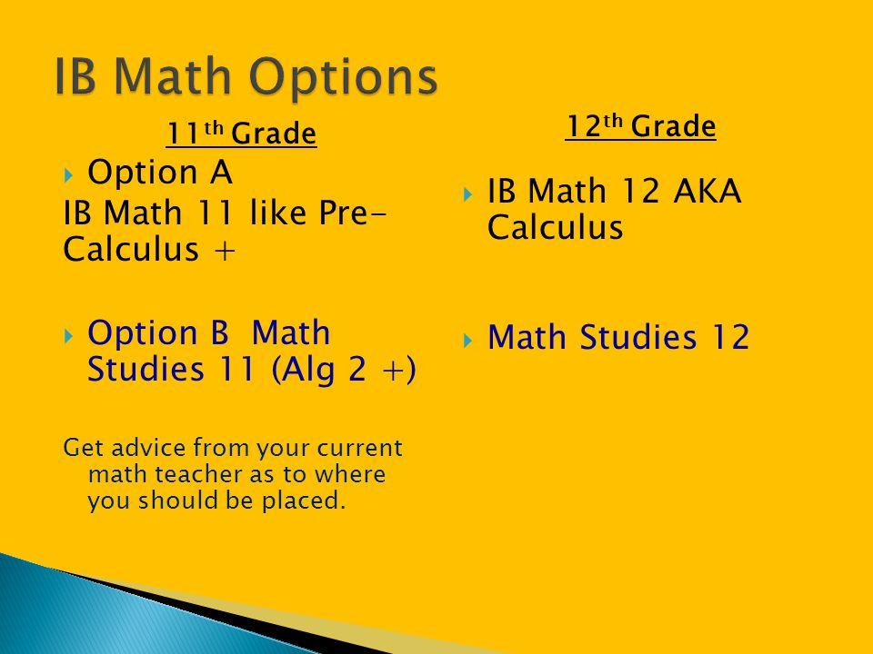 IB Math Options Option A IB Math 12 AKA Calculus