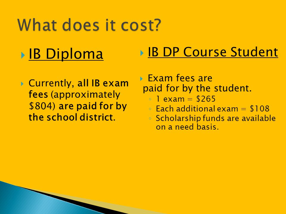 What does it cost IB Diploma IB DP Course Student Exam fees are