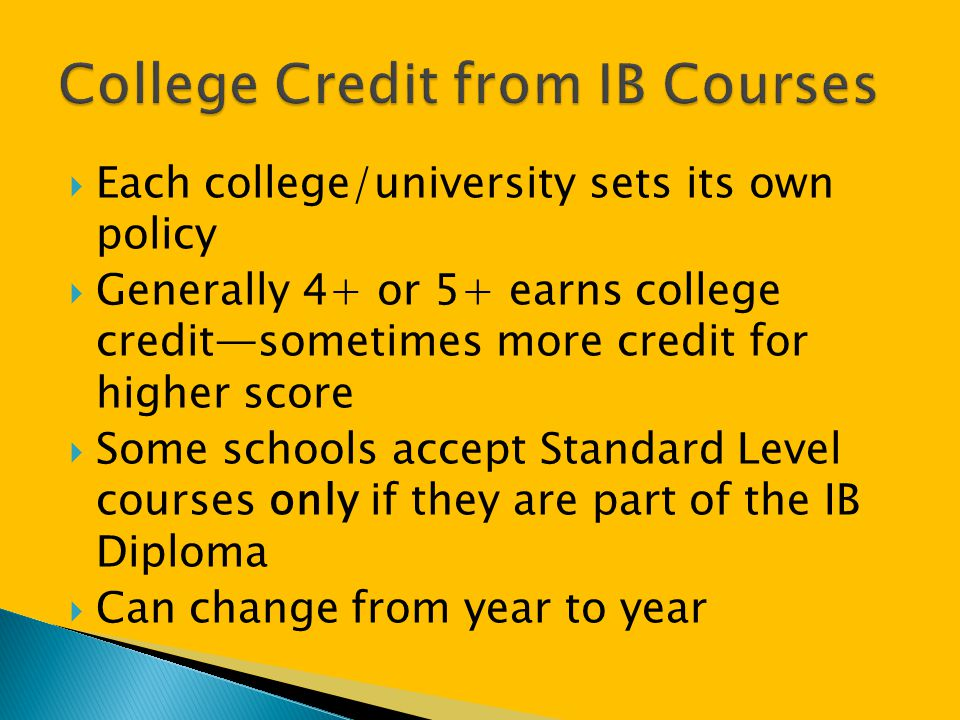 College Credit from IB Courses