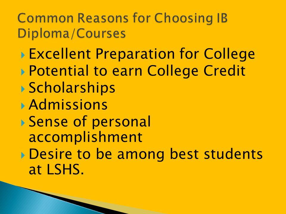 Common Reasons for Choosing IB Diploma/Courses