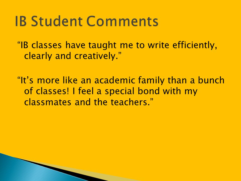IB Student Comments