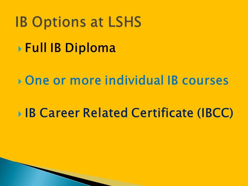 IB Options at LSHS Full IB Diploma One or more individual IB courses