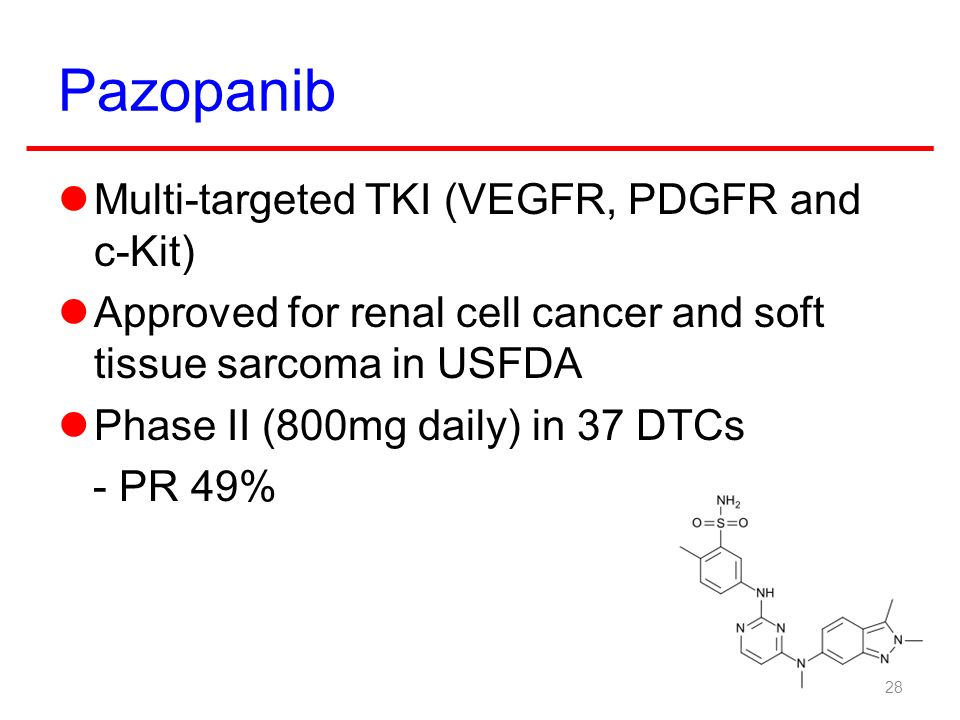 Pazopanib Multi-targeted TKI (VEGFR, PDGFR and c-Kit)
