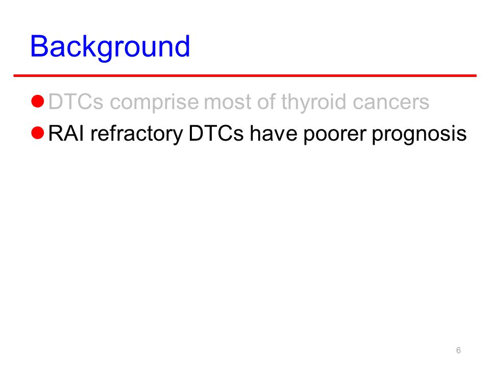 Background DTCs comprise most of thyroid cancers