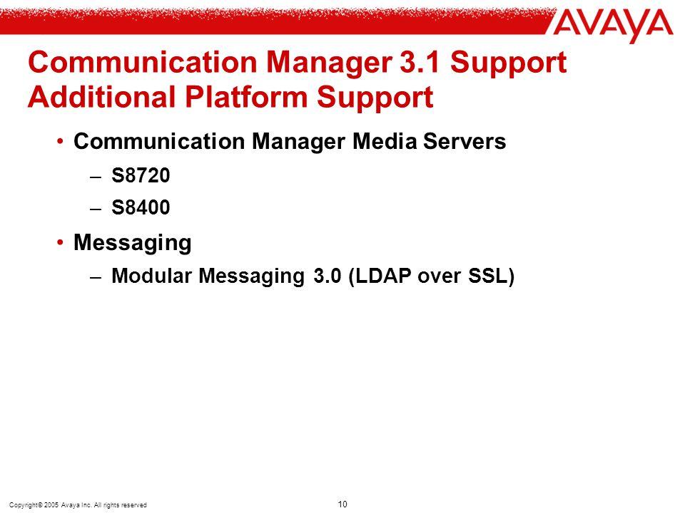 Communication Manager 3.1 Support Additional Platform Support
