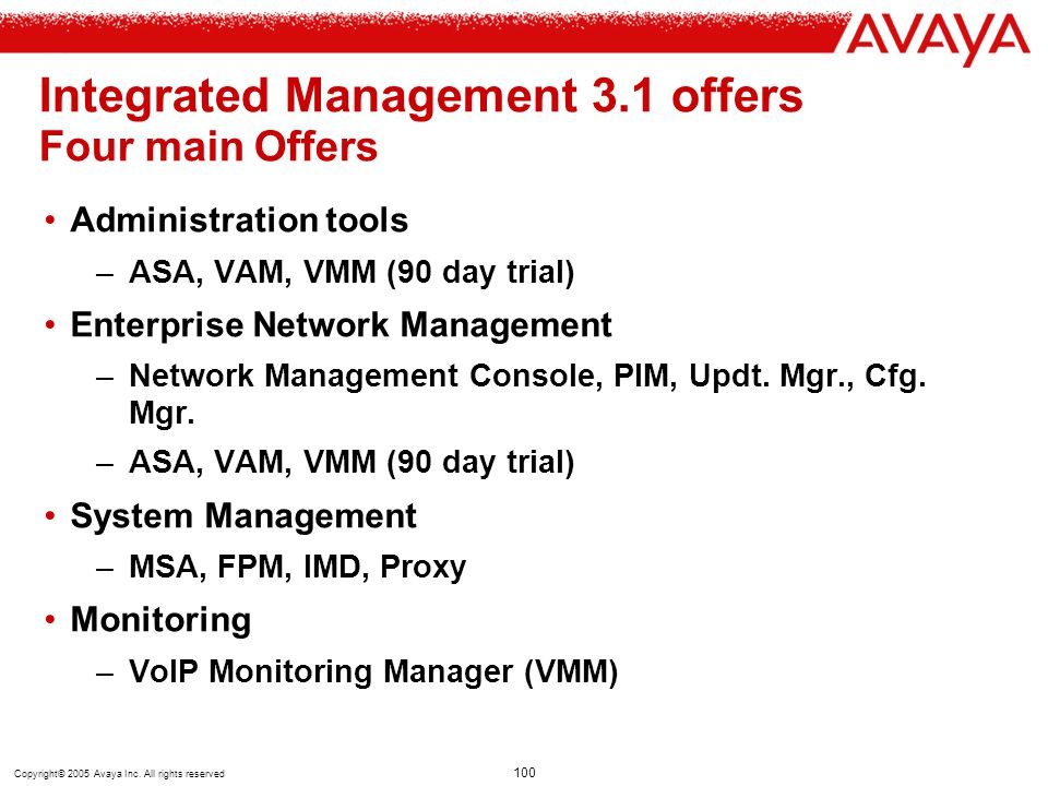 Integrated Management 3.1 offers Four main Offers