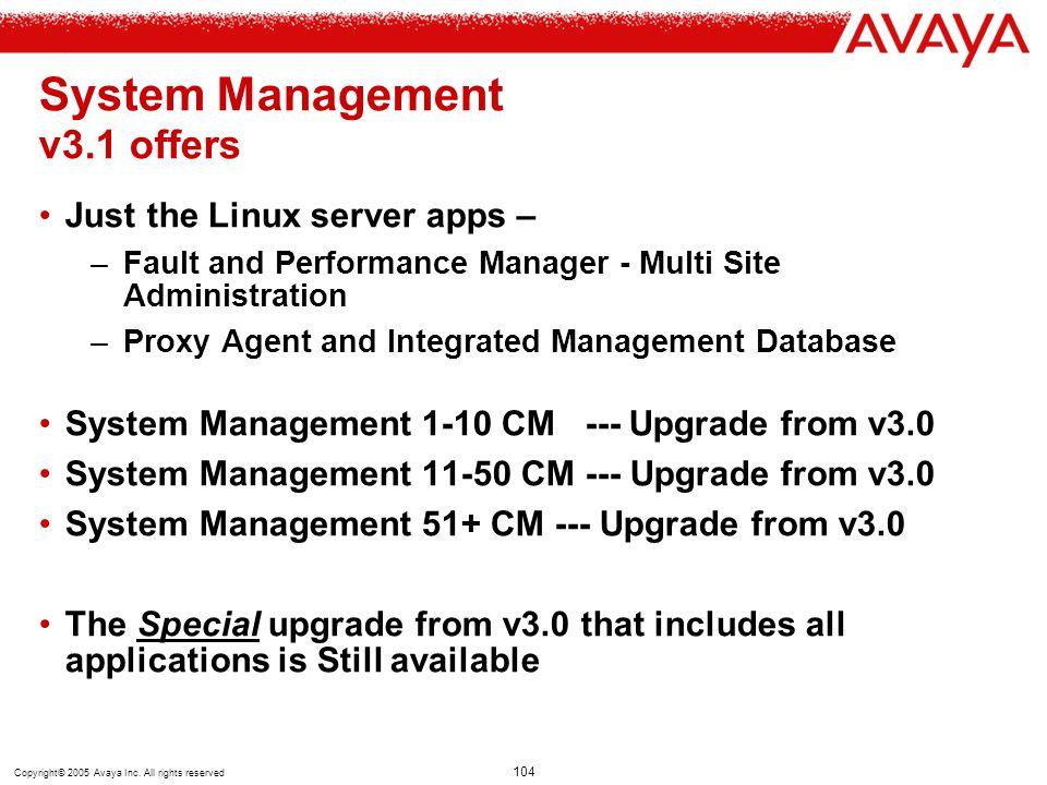 System Management v3.1 offers