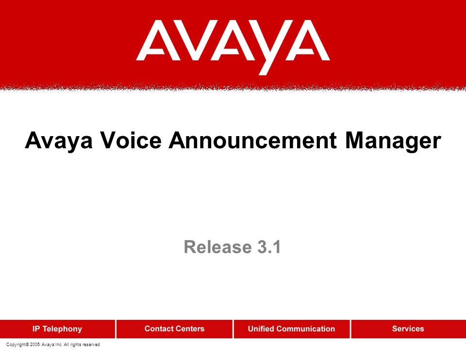 Avaya Voice Announcement Manager