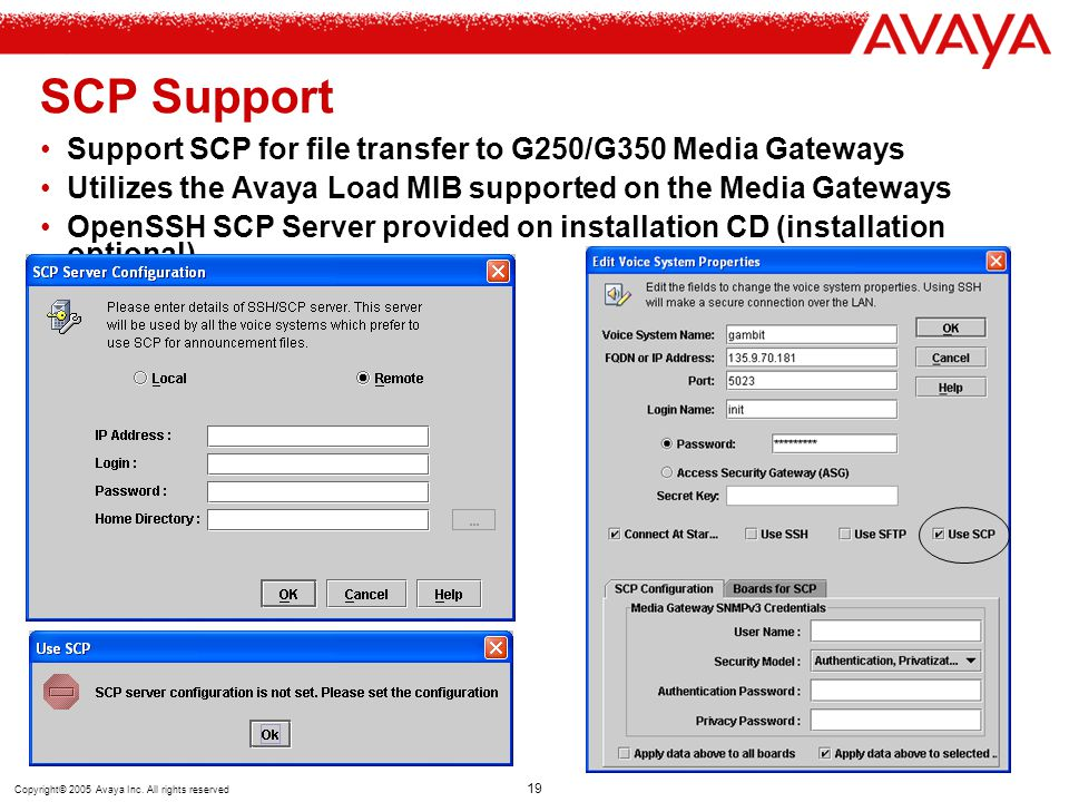 SCP Support Support SCP for file transfer to G250/G350 Media Gateways