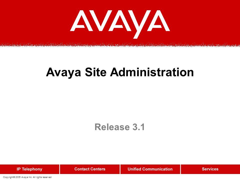 Avaya Site Administration