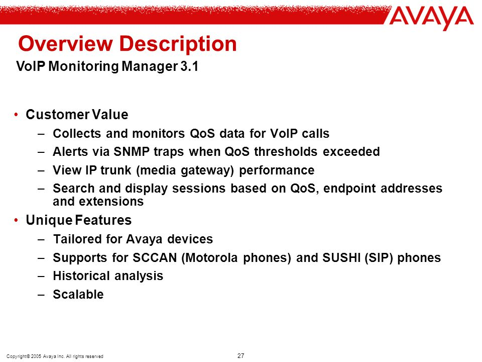 Overview Description VoIP Monitoring Manager 3.1 Customer Value