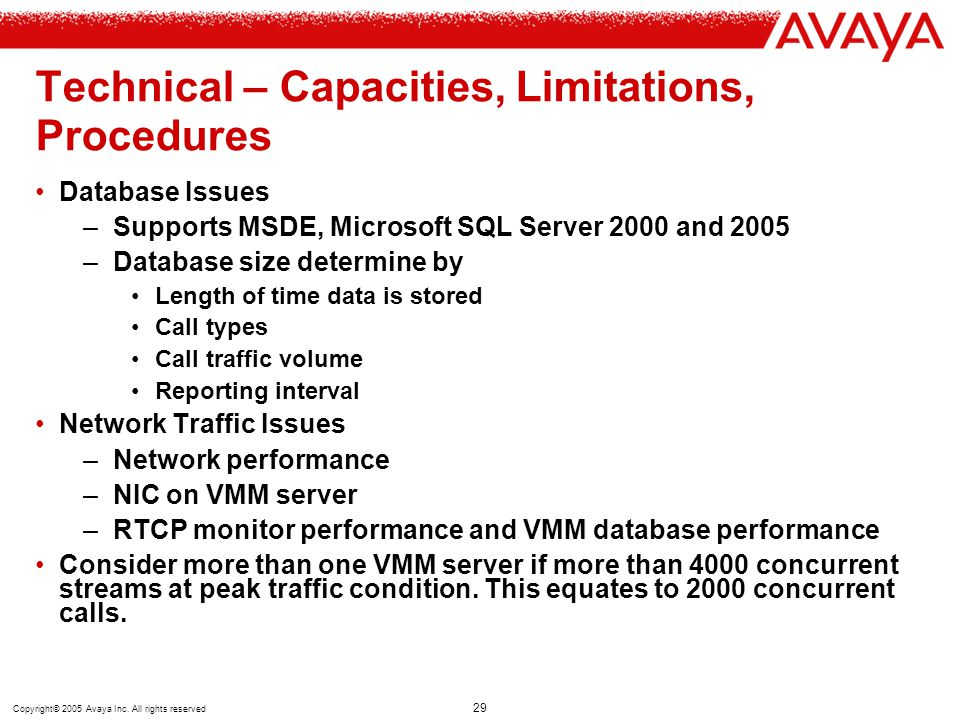 Technical – Capacities, Limitations, Procedures