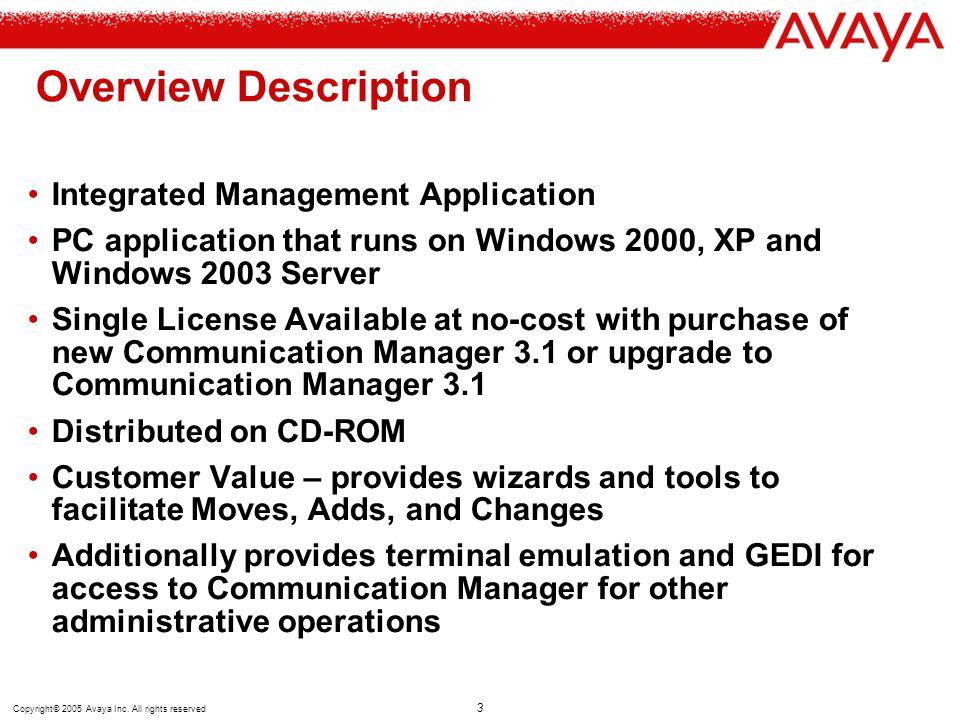 Overview Description Integrated Management Application