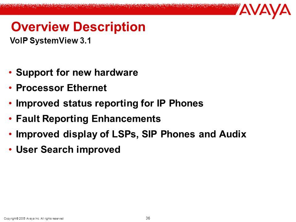 Overview Description Support for new hardware Processor Ethernet